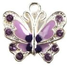 15/75pcs Plated Silver Mixed Enamel Rhinestone Butterfly Charms Alloy Pendant L