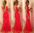 Women Lace Backless Bridesmaid Sleeveless Prom Gown Clubwear Long Maxi Dress CB
