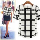 New Short Sleeve Chiffon Halter Top Shirt Black And White Plaid Chiffon Shirt
