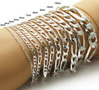 925 Sterling Silver Figaro Link Chain Bracelet (All Widths and Lengths)