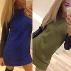 Sexy Patchwork Long Sleeve Casual Dresses Women Leather Cocktail Dress Reliable
