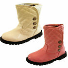 Baby Infant Toddler Girls Pink White Leopard Print Patent Stud Snow Ankle Boots