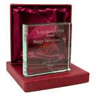 Personalised Jade Glass Block with Entwined Hearts, Engraved Valentines Day Gift