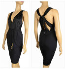 $1,595 GUCCI JERSEY DRESS WITH BAMBOO FRINGE BELT BLACK WILDLY SEXY Large
