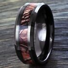 Black Tungsten Men's Red Forest Camouflage Camo Hunting Band Ring Size 8-15