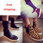 Women Horsehair Leopard Flat High-top Elastic Loafer Casual Slip-on Ankle Boots