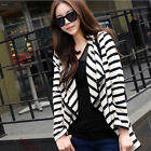 Women Asymmetric Cape Poncho Strip Top Cardigan Long Sleeve Coat Blouse Sweater