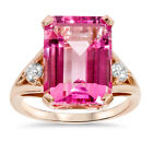 Huge 15.25CT Pink Topaz & Diamond Ring 14K Rose Gold