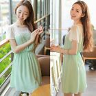 Sweet Girl Short Sleeve Chiffon Floral Applique Womens Tunic Mini Dress Casual