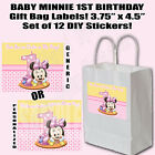 Baby Minnie 1st Birthday Thank You Favor Gift Bag Labels DIY Stickers (12 pc)
