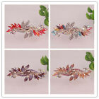 Women Gift 14K Gold Filled Austrian Crystal Leaf Hair Clip Jewelry In 4 Colors