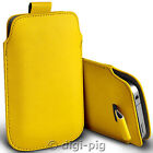 YELLOW (PU) LEATHER PULL TAB POUCH CASE FOR MAIN RANGE OF MOBILE PHONES