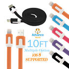 10ft USB Cable Flat Noodle Charger Sync Data for iPhone 6 6s Plus 5 5S iPod