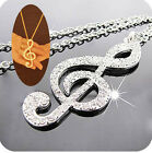 Charm Musical Note Crystal Statement Necklace Pendant Sweater Chain Gold Silver