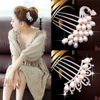 Party Wedding Bridal Crystal Rhinestone Pearls Hairpin Diamante Hair Clip Comb