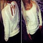 Sexy Women's Bow Backless Long Sleeve Hollow Sweater Pullover Jumper Tops Blouse