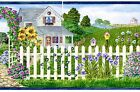 White Picket Fence Gazebo Rose Garden Floral Traditional Wall Wallpaper Border