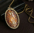 Vintage Amber Hollow Long chain Sweater Pendant Necklace Fashion Jewelry Classic