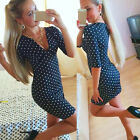 New Fashion Womens Polka Dot Casual Short Sleeve Mini Dress Party Dress Reliable