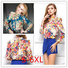 Sexy Women's Floral Print Pattern Chiffon Blouse Casual Long Sleeve Shirt Tops