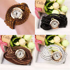 Vintage Leather Bracelet Woman Rivet Bracelet Quartz Wrist Watch T5JS