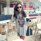 Women Short Sleeve Loose Tee Owl Print T-Shirt Side Split Slit Blouse Tops N4U8