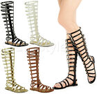 Ladies Womens Knee High Cut Out Flat Strappy Gladiator Summer Sandals Shoes Size