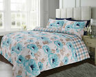 Duvet Cover with Pillowcase Quilt Cover Bedding Set Large Floral Poppy Teal
