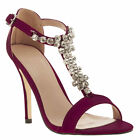 SCHUH WOMENS BURGUNDY FABRIC JEWELLED HIGH HEELS PARTY SHOES