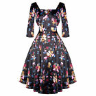 Black Vintage 50s Satin Floral Glamorous Chintz Pinup Party Dress