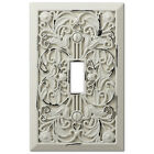 Внешний вид - Arabesque Filigree Antique White Switch Plate Outlet Cover Wall Switch Plates