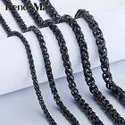 3/4/5/6/7/8mm Mens Chain Wheat Link Black Tone Stainless Steel Necklace Gifts