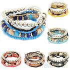 1 SET NEW STYLISH WOMENS BOHEMIAN ACRYLIC BEADS SUMMER BEACH MULTILAYER BRACELET