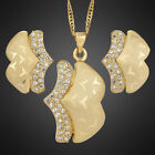 Wing Wedding Party 18K Yellow Gold Plated Gold Jewelry Set Necklace Earrings