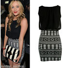 Womens Contrast Aztec Print Sexy Ladies Bodycon Skirt Chiffon Dress Top New