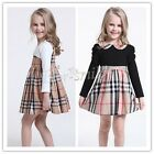 New Girls Long Sleeve Plaid And Checks Dress Kids Children Elegant Dress