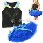 Kids Girls Floral Flower Cotton Sleeveless Top + Tutu Skirt 2pcs Outfit Baby Set