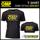 New! OR5907 OMP Racing Spirit Black Short Sleeve T-Shirt With Yellow OMP Logo