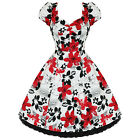 Ladies Womens New Red White Floral 50s Vtg Rockabilly Swing Party Prom Dress