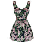 Hearts And Roses London Blue Pink Floral Vintage 50s 60s Mini Party Prom Dress