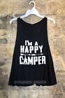 BLACK TANK TOP I'M A HAPPY CAMPER Sleeveless Graphic Shirt Camping NEW S M L