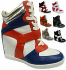 Ladies Lace Up Hi Tops Ankle Wedge Trainers Girl Shoes Women Celebrity Sneakers