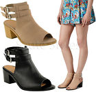Ladies Womens Mid Heel Cut Out Chunky Ankle Strappy Boots Sandals Shoes Size