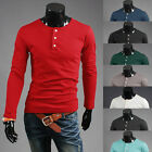Mens Long Sleeve Blouse Crew Neck 1/2 Button Casual Cotton Pullover Henley Shirt
