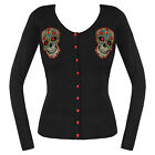 Black Knitted Tattoo Sugar Skull Rockabilly Cardigan Jumper Knitwear Top