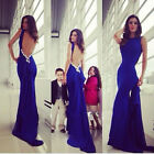 Women Backless Bowknot Fishtail Long Dress Party Evening Ball Gown Reliable