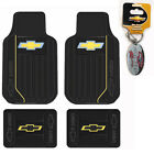New Chevy Gold Bowtie Logo Front Back Heavy Duty Rubber Floor Mats Made in U.S.A