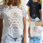 Women Shirt Short Sleeve Crop Perspective Hollow Out Lace Blouse New Reliable