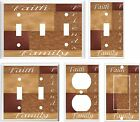 FAITH FAMILY FRIENDS PATCHWORK BROWN TONES LIGHT SWITCH COVER PLATE K1