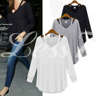 Women Long Sleeve Irregular Hem Top Off Shoulder V Neck Tops T-shirt